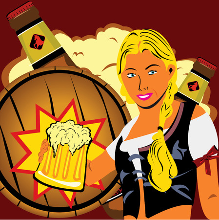 young girl with a beer and a barrel and bottles in background Vector