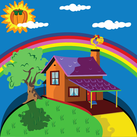 Vector illustration of a lonely house with a rainbow in background and a pumpkin instead of sun Vector
