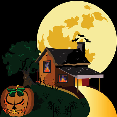 Abstract vector illustration of a lonely house during Halloween night Vector