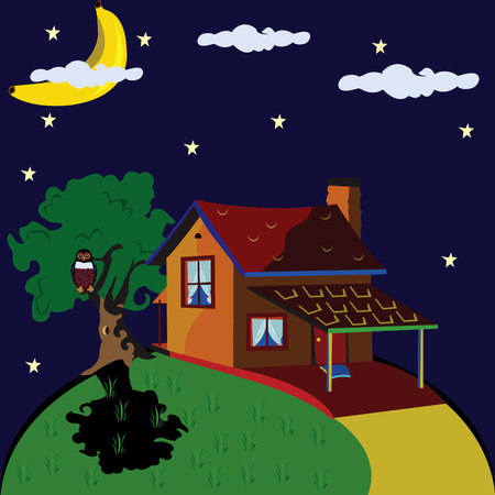 private cloud: Abstract vector illustration of an lonely house at night with banana on the sky in stead of the moon