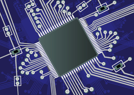 printed: Vector illustration of a fictive printed board circuit