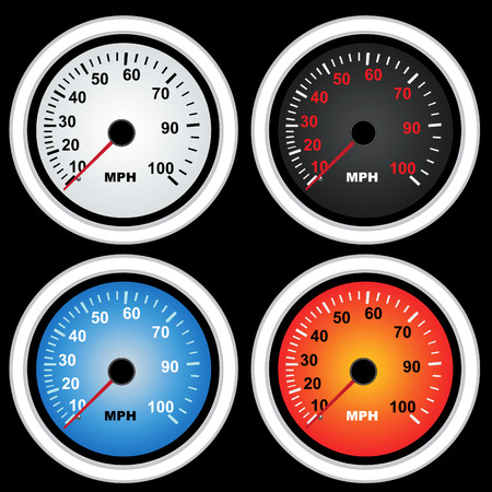 mileage: A collection of speedometers vector image illustration