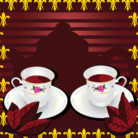 Vector illustration of two cups of tea with leafs and with a pot in background of the image Stock Vector - 5378677