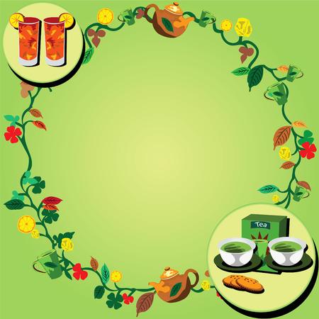 Vector illustration of a tea wreath very suitable for backgrounds websites portfolio etc. Vector