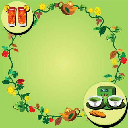 mixed drink: Vector illustration of a tea wreath very suitable for backgrounds websites portfolio etc. Illustration