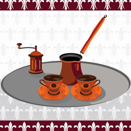 coffeepot: Set of Turkish coffee with a grinder on a silver plate vector illustration