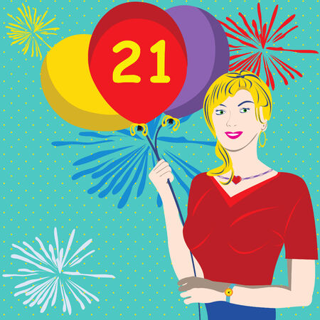 Vector illustration of a young female holding balloons. The 21 on a red balloon indicates that its her birthday. Vector