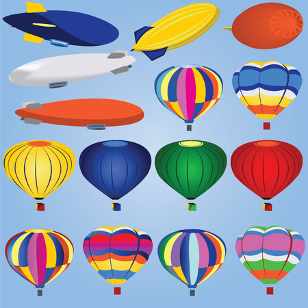 Vector illustration of different airships and balloons isolated on white background. Vector