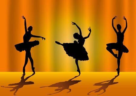 zapatillas de ballet: Ilustración del vector de tres bailarines aislados sobre fondo naranja