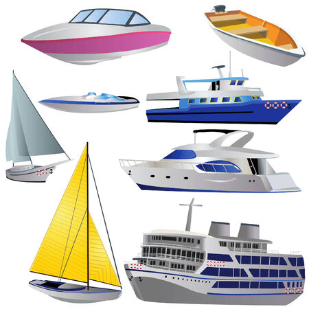 Vector illustration of 8 different boat types isolated on white background. Vector