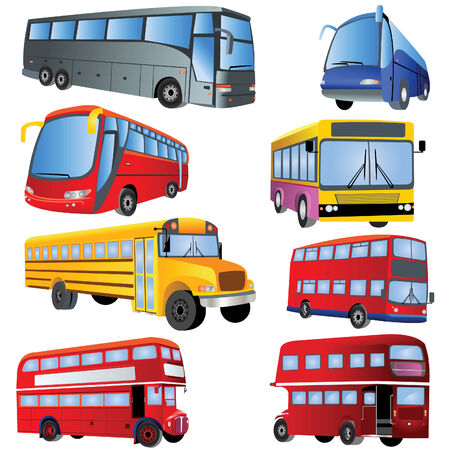 front wheel drive: Vector illustration of 8 different bus types isolated on white background.