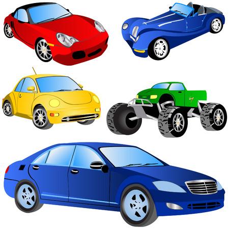 car showroom: Ilustraci�n vectorial de 6 tipos de coches diferentes aislados sobre fondo blanco.