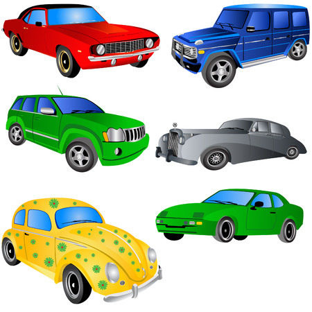 Vector illustration of 6 different car types isolated on white background. Stock Vector - 5381734