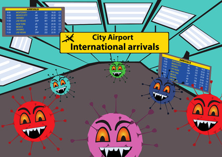 staphylococcus: Cartoon vector illustration of a viruses at the airport