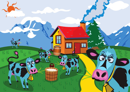 fall images: Cartoon vector illustration of funny cows on a farm