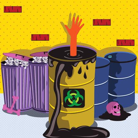Vector illustration of a Prawning in biohazard barrel Vector