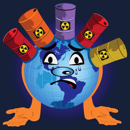 toxic barrels: Fun vector illustration of a globe with toxic barrels.