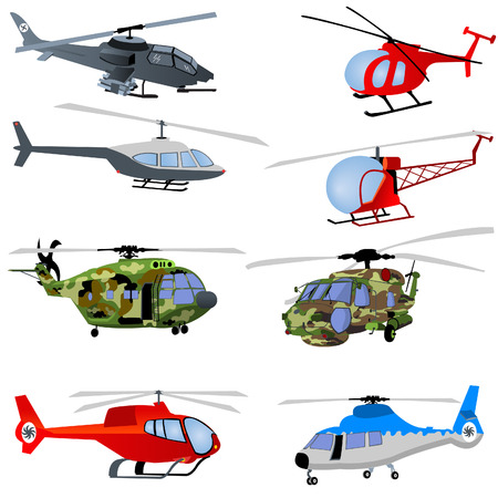 Vector illustration of different helicopters isolated on white background. Vector