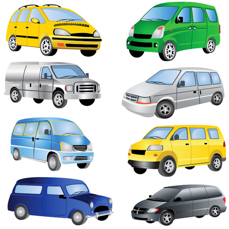Vector illustration of different minivan cars isolated on white background.