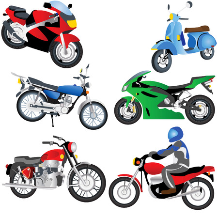 Vector illustration of different motorcycles isolated on white background Illustration