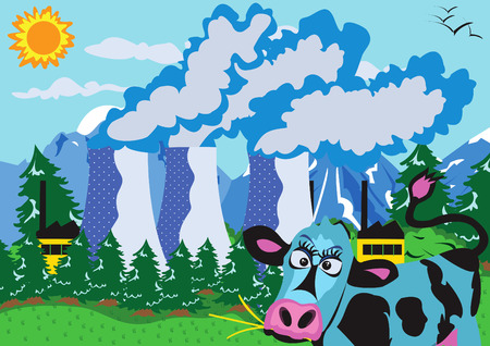 nuclear vector: Vector illustration of a nuclear power plant and a cow.