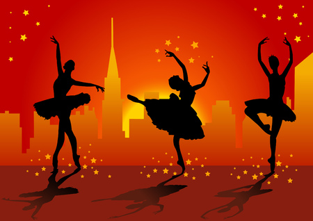 classic dance: Ilustraci�n del vector de tres bailarinas de ballet con las estrellas y en el fondo