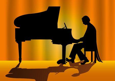 joueur de piano: Vector illustration d'un joueur de piano silhouette sur sc�ne