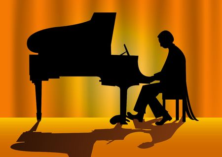 piano player: Vector illustration of a piano player silhouette on stage Stock Photo