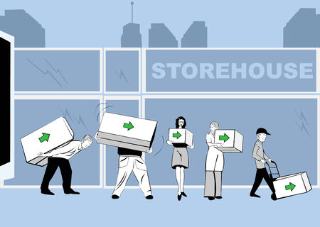 stockpile: Vector illustration of people caring boxes various dimensions with an arrow on it in front of a storehouse