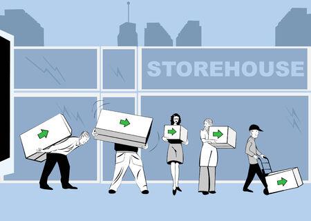 storehouse: Vector ilustraci�n de los cuadros de cuidado de personas de diversas dimensiones con una flecha en el mismo delante de un almac�n