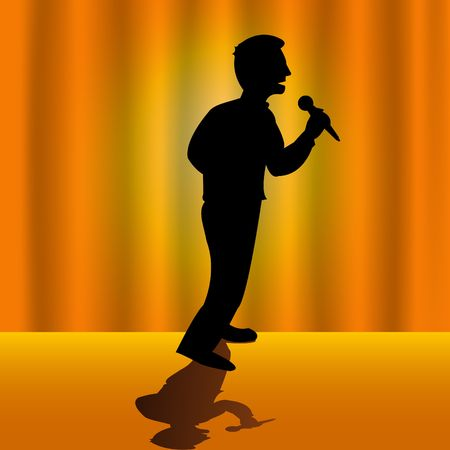 Vector illustrated silhouette of a singer on stage with orange background photo