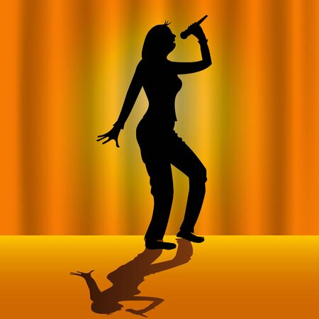 Vector illustrated singing woman silhouette on orange background photo