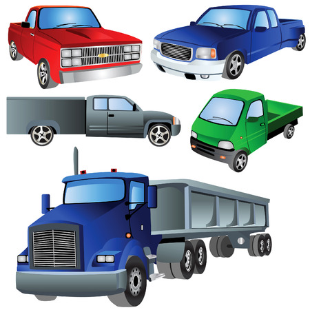 Vector illustration of different trucks isolated on white background. Vector