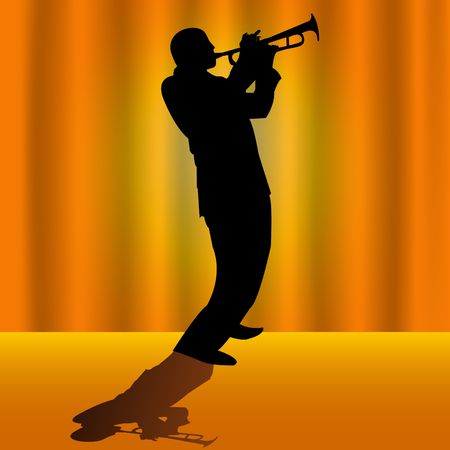 trumpet vector: Vector illustrated silhouette of a trumpet player on stage with orange background