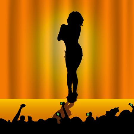 Vector illustrated sexy female silhouette on stage in front of audience Stock Photo - 5413103