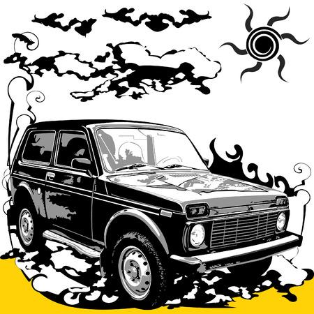 low prizes: Vector ilustraci�n de un coche 4x4 en el dise�o de estilo grunge.