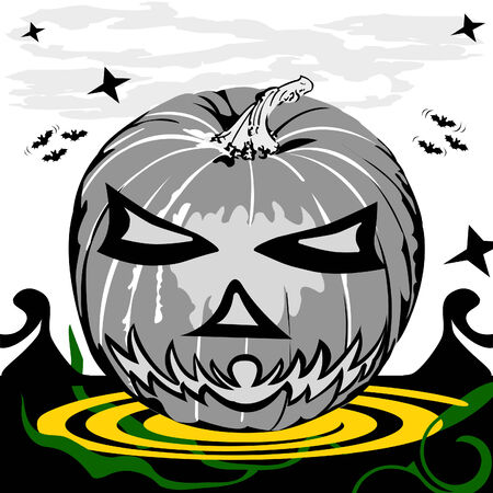 Vector illustration of a Halloween pumpkin in grunge design style.