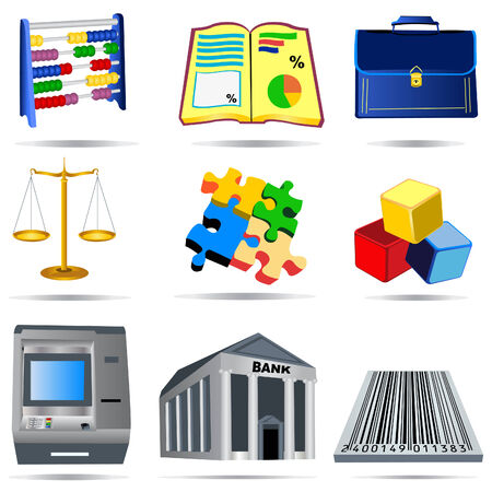 bank manager: Vector illustration of nine colored accounting icons.