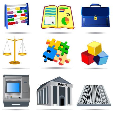 bank manager: Vector ilustraci�n de nueve iconos de contabilidad de color. Vectores