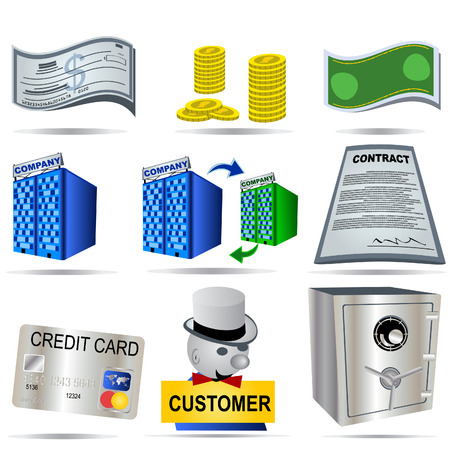 bank manager: Ilustraci�n de Ector de nueve colores iconos de contabilidad.