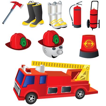 water hoses: ector illustration of nine colored fireman icons. Illustration