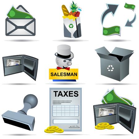 sales executive: Ilustraci�n vectorial de nueve colores iconos de contabilidad.  Vectores