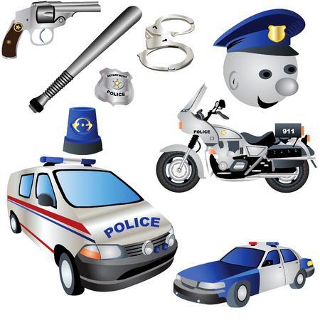 Vector illustration Set of nine colored police icons. Vector