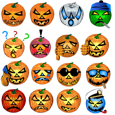 fourteen colored Halloween pumpkin emotions, vector illustration. Vector