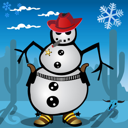Funny vector illustration of a snowman with guns, boots and a cowboy hat. Vector