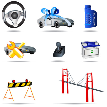 commercial painting: Vector illustration of nine colored transport icons.