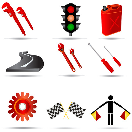 Vector illustration of nine colored transport icons. Vector