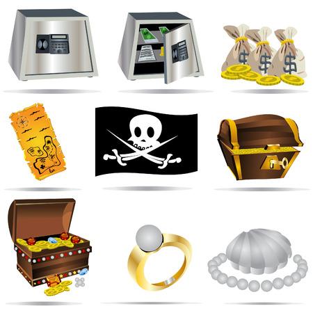 stack of cash: Ilustraci�n del vector de nueve tesoros de colores y los iconos de la banca Vectores