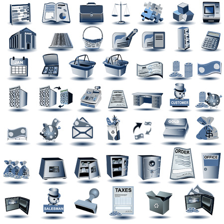 バンキング: 別のアカウントの画像は、完全に編集可能な一連の巨大なベクトル イラスト