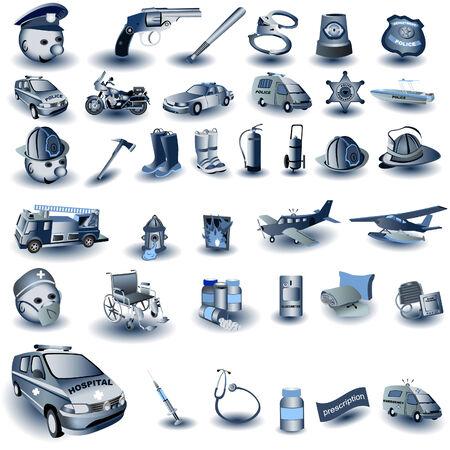 Blue Professional Job Icons Stock Vector - 5666984